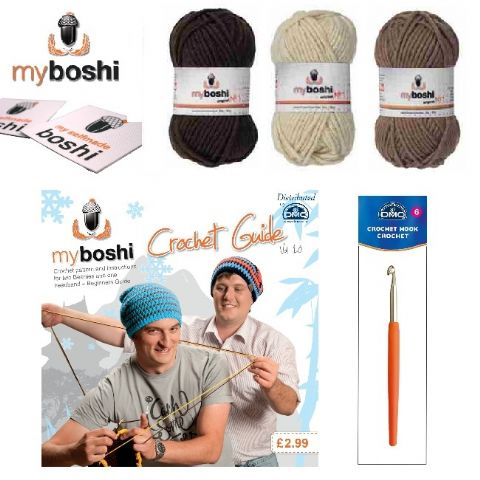 Brown - Make Your Own Crochet Myboshi Beanies Hat Kit (Colours 174 172 171)